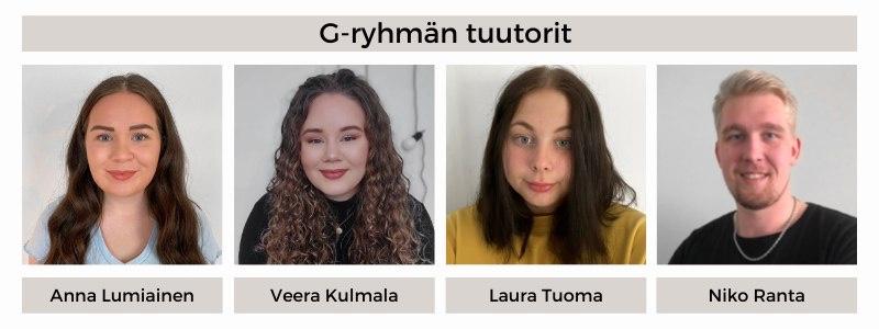 21G-ryhmän tuutorit: Anna Lumiainen, Veera Kulmala, Laura Tuoma, Niko Ranta