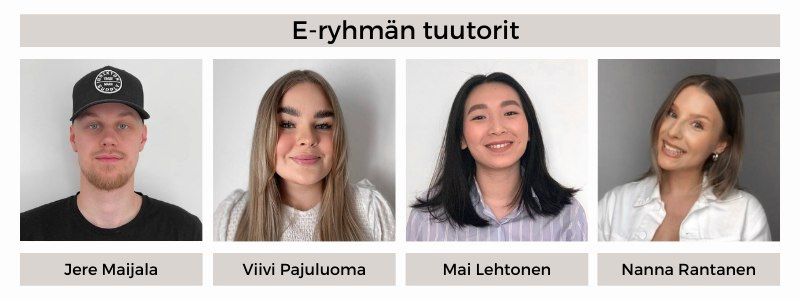 21E-ryhmän tuutorit: Jere Maijala, Viivi Pajuluoma, Mai Lehtonen, Nanna Rantanen