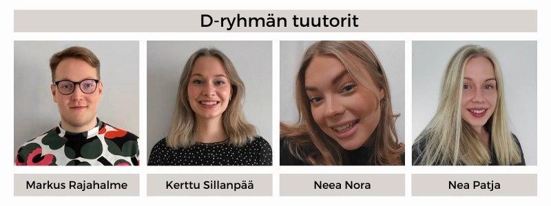 21D-ryhmän tuutorit: Markus Rajahalme, Kerttu Sillanpää, Neea Nora, Nea Patja
