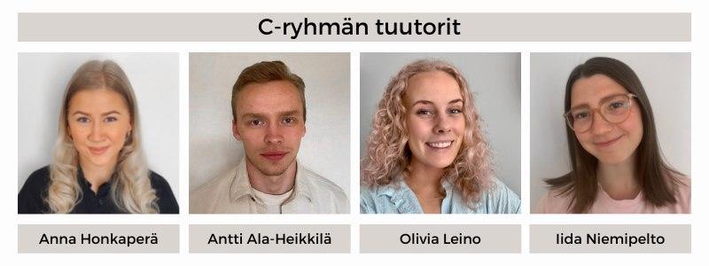 21D-ryhmän tuutorit: Anna Honkaperä, Antti Ala-Heikkilä, Olivia Leino, Iida Niemipelto
