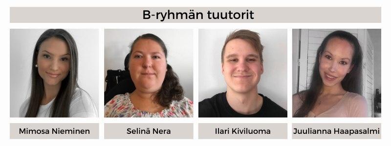 21B-ryhmän tuutorit: Mimosa Nieminen, Selinä Nerä, Ilari Kiviluoma, Juulianna Haapasalmi