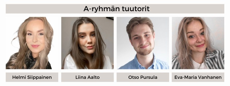 21A-ryhmän tuutorit: Helmi Siippainen, Liina Aalto, Otso Pursula, Eva-Maria Vanhanen
